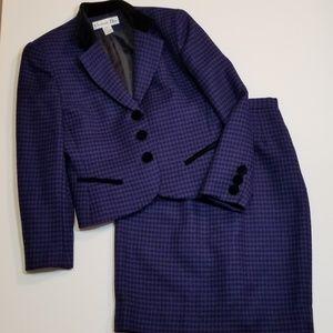 Vintage Christian Dior Wool Houndstooth Skirt Suit